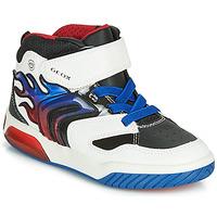 Cipők Fiú Magas szárú edzőcipők Geox J INEK BOY Fehér / Kék / Led