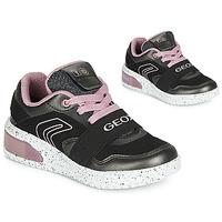 Cipők Lány Magas szárú edzőcipők Geox J XLED GIRL Fekete  / Rózsaszín / Led