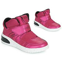Cipők Lány Magas szárú edzőcipők Geox J XLED GIRL Rózsaszín / Fukszia / Fekete  / Led