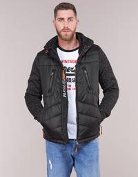Ruhák Férfi Steppelt kabátok Superdry STORM HYBRID ZIPHOOD Fekete
