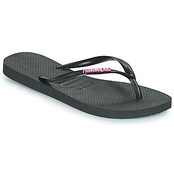 Cipők Női Lábujjközös papucsok Havaianas SLIM LOGO METALLIC Fekete