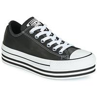 Cipők Női Rövid szárú edzőcipők Converse CHUCK TAYLOR ALL STAR LAYER BOTTOM LEATHER OX Fekete  / Fehér / Fekete