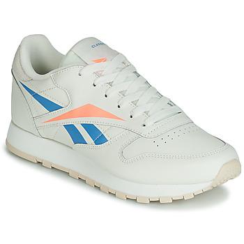 Cipők Női Rövid szárú edzőcipők Reebok Classic CL LTHR Bézs / Kék / Narancssárga