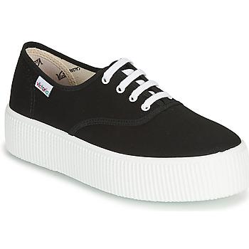Cipők Női Rövid szárú edzőcipők Victoria 1915 DOBLE LONA Fekete
