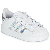 Cipők Lány Rövid szárú edzőcipők adidas Originals SUPERSTAR EL I Fehér / Ezüst