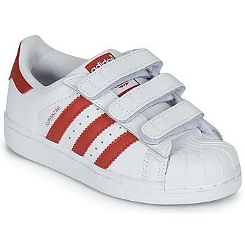 Cipők Gyerek Rövid szárú edzőcipők adidas Originals SUPERSTAR CF C Fehér / Piros