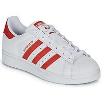 Cipők Gyerek Rövid szárú edzőcipők adidas Originals SUPERSTAR J Fehér / Piros