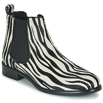 Cipők Női Csizmák Betty London HUGUETTE Fekete  / Fehér / Zebra