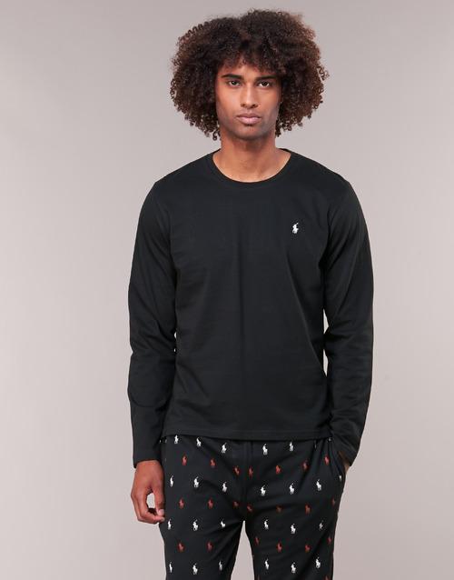 Ruhák Férfi Hosszú ujjú pólók Polo Ralph Lauren L/S CREW-CREW-SLEEP TOP Fekete