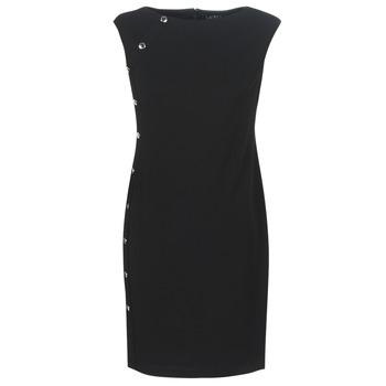 Ruhák Női Rövid ruhák Lauren Ralph Lauren BUTTON-TRIM CREPE DRESS Fekete