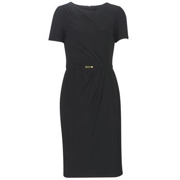 Ruhák Női Hosszú ruhák Lauren Ralph Lauren BELTED SHORT SLEEVE DRESS Fekete