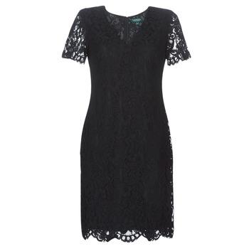 Ruhák Női Rövid ruhák Lauren Ralph Lauren SCALLOPED LACE DRESS Fekete