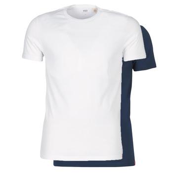 Ruhák Férfi Rövid ujjú pólók Levi's SLIM 2PK CREWNECK 1 Tengerész / Fehér