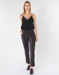 Ruhák Női Nadrágok Maison Scotch TAPERED LUREX PANTS WITH VELVET SIDE PANEL Szürke