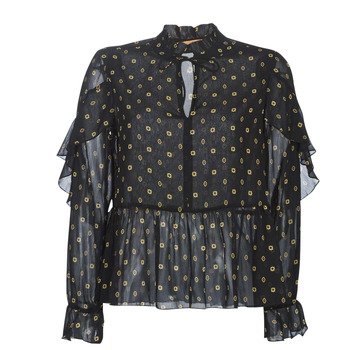 Ruhák Női Blúzok Maison Scotch SHEER PRINTED TOP WITH RUFFLES Fekete