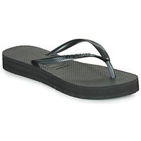 Cipők Női Lábujjközös papucsok Havaianas SLIM FLATFORM Fekete