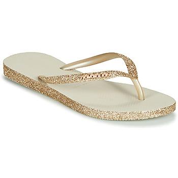Cipők Női Lábujjközös papucsok Havaianas SLIM SPARKLE Bézs / Arany