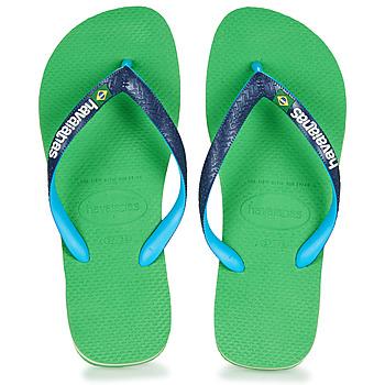 Cipők Lábujjközös papucsok Havaianas BRASIL MIX Zöld / Kék