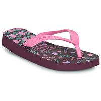 Cipők Lány Lábujjközös papucsok Havaianas KIDS FLORES Padlizsán