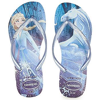 Cipők Lány Lábujjközös papucsok Havaianas KIDS SLIM FROZEN Kék