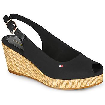Cipők Női Szandálok / Saruk Tommy Hilfiger ICONIC ELBA SLING BACK WEDGE Fekete