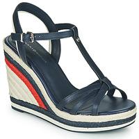 Cipők Női Szandálok / Saruk Tommy Hilfiger TOMMY STRAPPY HIGH WEDGE Kék