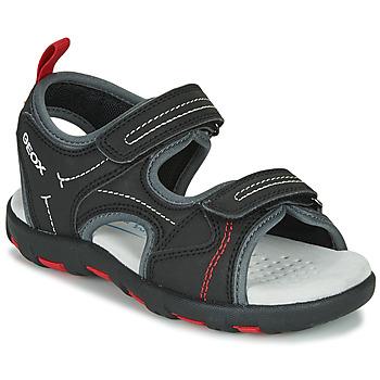 Cipők Fiú Sportszandálok Geox JR SANDAL PIANETA Fekete  / Piros