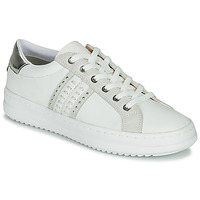 Cipők Női Rövid szárú edzőcipők Geox D PONTOISE Fehér / Ezüst