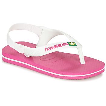 Cipők Lány Lábujjközös papucsok Havaianas BABY BRASIL LOGO II Rózsaszín / Fehér