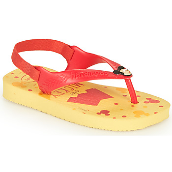 Cipők Fiú Lábujjközös papucsok Havaianas BABY DISNEY CLASSICS II Citromsárga / Piros