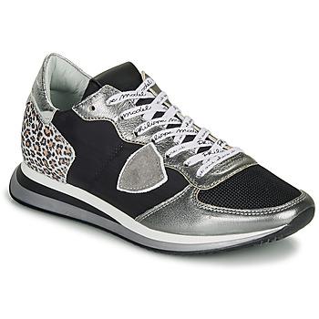 Cipők Női Rövid szárú edzőcipők Philippe Model TROPEZ X Fekete  / Ezüst