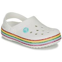 Cipők Lány Klumpák Crocs CROCBAND RAINBOW GLITTER CLG K Fehér