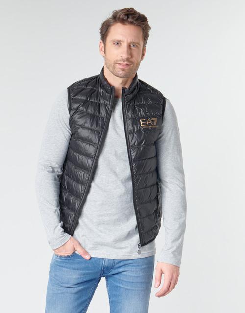 Ruhák Férfi Steppelt kabátok Emporio Armani EA7 CORE ID 8NPQ02 Fekete  / Arany