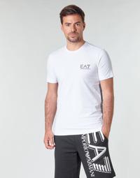 Ruhák Férfi Rövid ujjú pólók Emporio Armani EA7 TRAIN LOGO SERIES M TAPE TEE ST Fehér