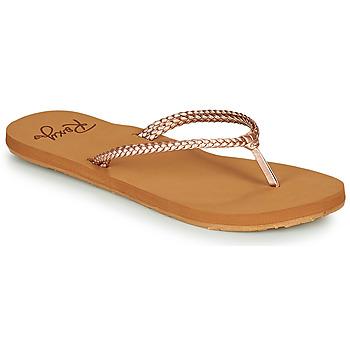 Cipők Női Lábujjközös papucsok Roxy COSTAS Rózsaszín / Arany