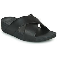 Cipők Női Papucsok FitFlop LULU CROSS SLIDE SANDALS - LEATHER Fekete