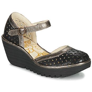 Cipők Női Félcipők Fly London YVEN Fekete / Bronz
