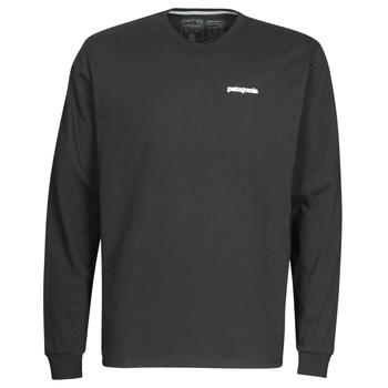 Ruhák Férfi Hosszú ujjú pólók Patagonia M's L/S P-6 Logo Responsibili-Tee Fekete