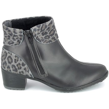 Cipők Női Bokacsizmák Boissy Boots Noir Leopard Fekete