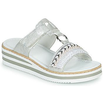 Cipők Női Papucsok Rieker CLOZ Ezüst / Fehér