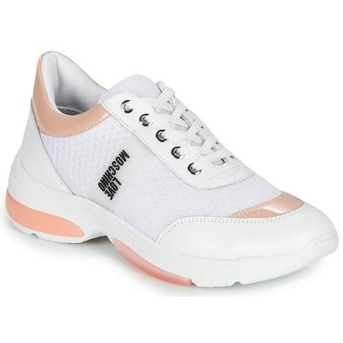 Cipők Női Rövid szárú edzőcipők Love Moschino RUNNINLOVE Fehér / Rózsaszín