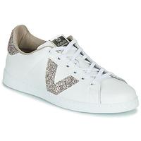Cipők Női Rövid szárú edzőcipők Victoria TENIS PIEL GLITTER Fehér / Rózsaszín