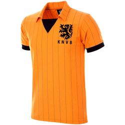 Ruhák Férfi Rövid ujjú pólók Copa Football Maillot rétro Pays-Bas 1983 orange