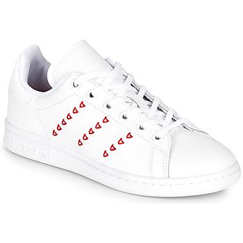 Cipők Lány Rövid szárú edzőcipők adidas Originals STAN SMITH J Fehér / Piros / CŒur