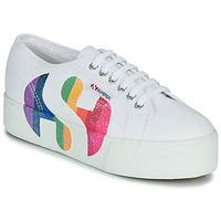 Cipők Női Rövid szárú edzőcipők Superga 2790-COTWPRINTEDLOGOGLITTER Fehér