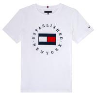 Ruhák Fiú Rövid ujjú pólók Tommy Hilfiger KB0KB05718 Fehér