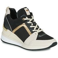 Cipők Női Rövid szárú edzőcipők MICHAEL Michael Kors GEORGIE Fekete  / Bézs / Arany