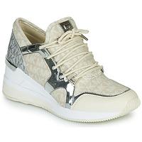 Cipők Női Rövid szárú edzőcipők MICHAEL Michael Kors LIV TRAINER Bézs / Ezüst