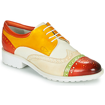 Cipők Női Oxford cipők Melvin & Hamilton AMELIE 85 Fehér / Citromsárga / Barna