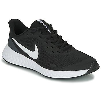 Cipők Gyerek Rövid szárú edzőcipők Nike REVOLUTION 5 GS Fekete  / Fehér